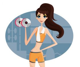 Fitness girl cartoon illustration vector