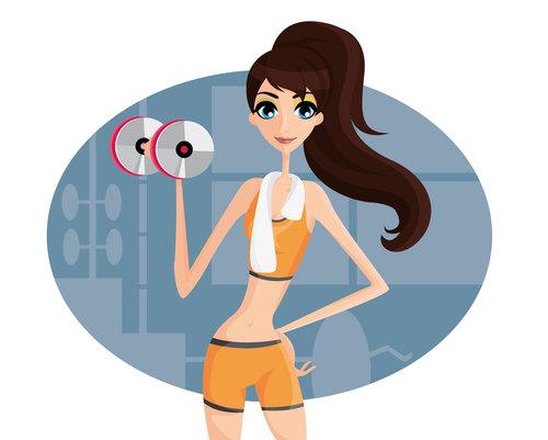 Fitness girl cartoon illustration vector