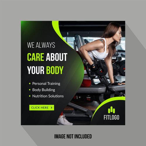 Fitness social media template vector