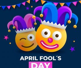 Flat design april fools day cartoon vector