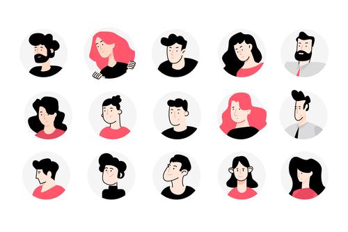 Flat design avatar icons vector