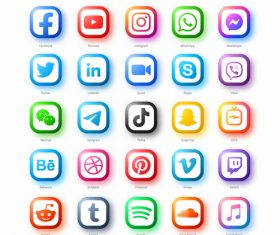 Flat social media icon vector