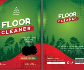 Floor cleaner packaging green vector