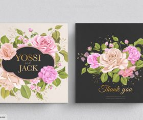 Floral background wedding invitation card vector