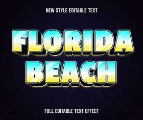 Florida beach editable text effect vector