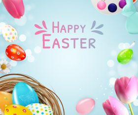 Flower and egg easter card vector