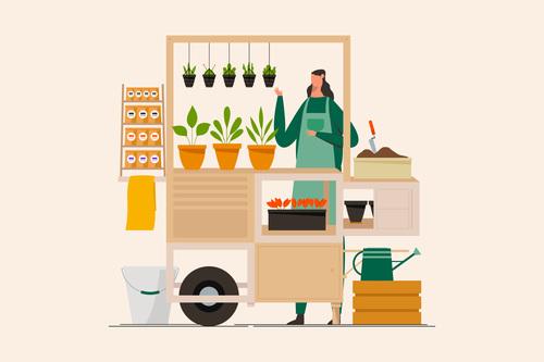 Flower and plants stall market illustration vector