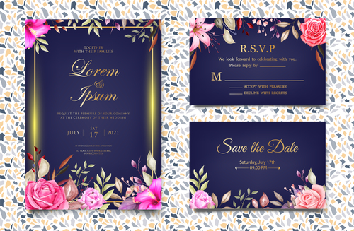 Flower decoration wedding invitation card vector