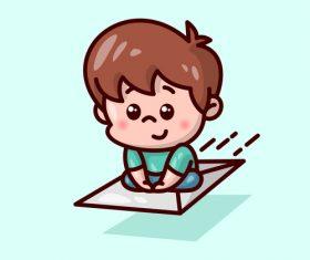 Flying mail kid cartoon illustration vector