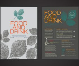 Food and drink menu cover vector