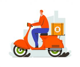 Food delivery scooter illustration vector