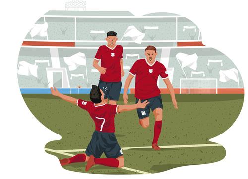 Football player celebrating illustration vector