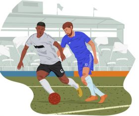 Football player in game illustration vector