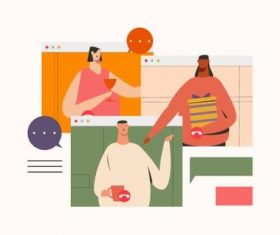 Friendship video call illustration vector