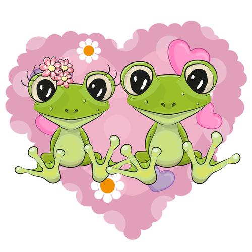 Frog mate cartoon illustration vector