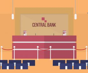 Front office bank illustration background vector