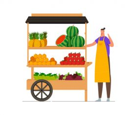 Fruit cart With seller illustration vector