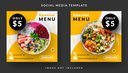 Fruit smoothie and vegetable salad sale template design vector