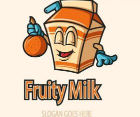 Fruity milk mascot logo vector