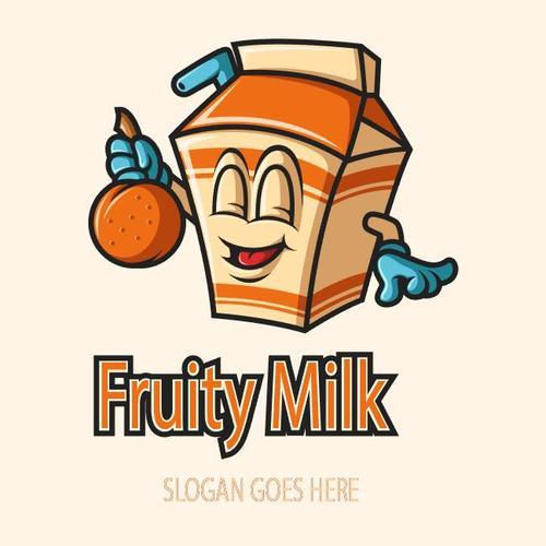 Fruity milk mascot logo vector