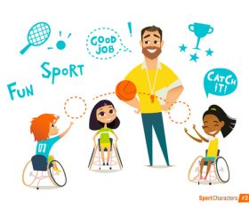 Fun sport catchit cartoon illustration vector
