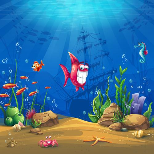 Funny fish ocean world vector