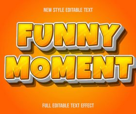 Funny moment editable text effect vector