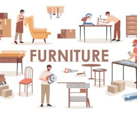 Furniture factory cartoon illustration vector