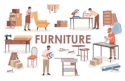 Furniture factory cartoon illustration vector