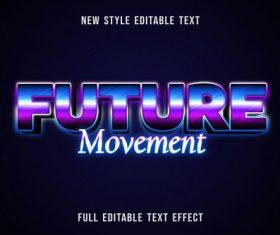 Future movement editable text effect vector