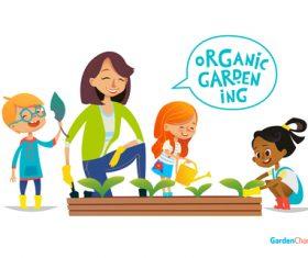 Garden characters cartoon illustration vector