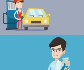 Gas station worker and professor vector