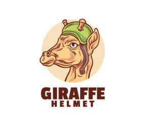 Giraffe helmet logo vector