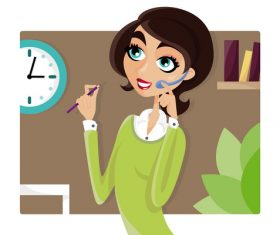 Girl answering the phone cartoon illustration vector