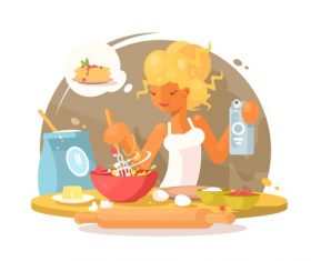 Girl cook vector