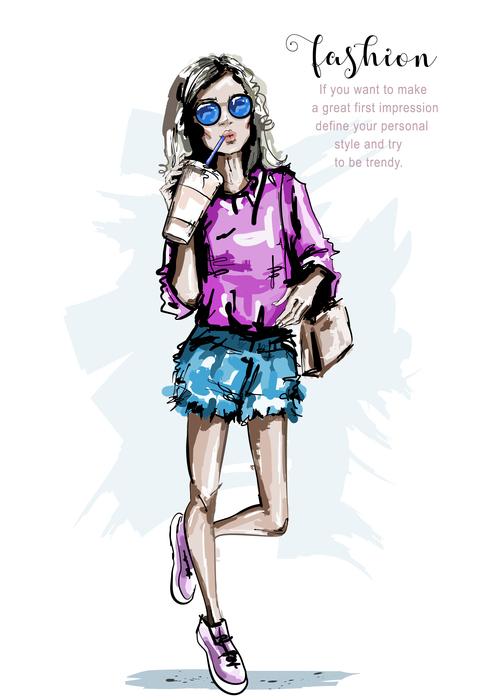 Girl drawing illustration vector