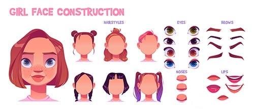 Girl face construction avatar creation set vector