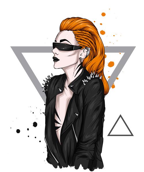 Girl in stylish vector