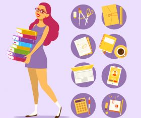 Girl student and book vector