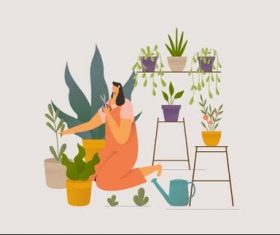 Girl taking care houseplants illustration vector