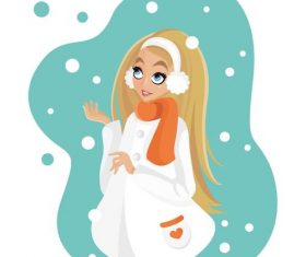 Girl watching snowing cartoon illustration vector