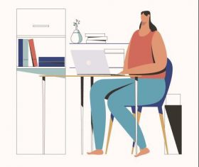 Girl working from home illustration vector