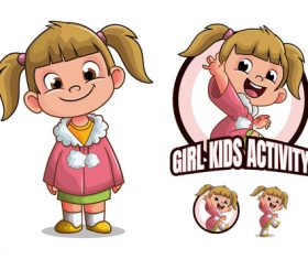 Girl Kids Cartoon Character vector
