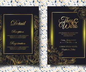 Glitter wedding invitation card vector