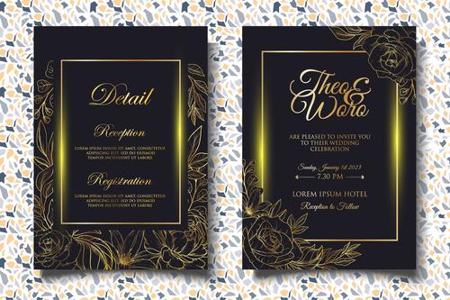 Glitter wedding invitation card vector