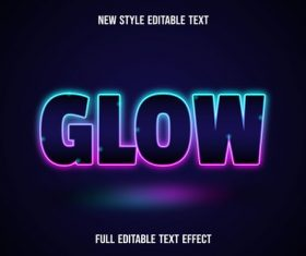 Glow editable text effect vector