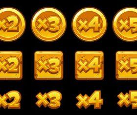 Gold bonus multiplied numbers for game set vector