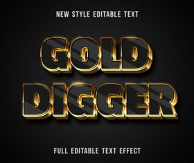 Gold digger editable text effect vector