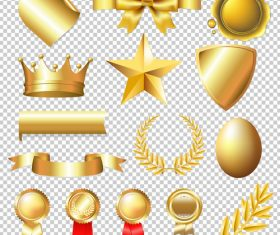 Golden badge and symbol design vector