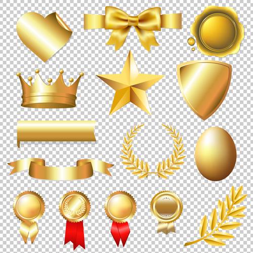 Golden badge and symbol design vector